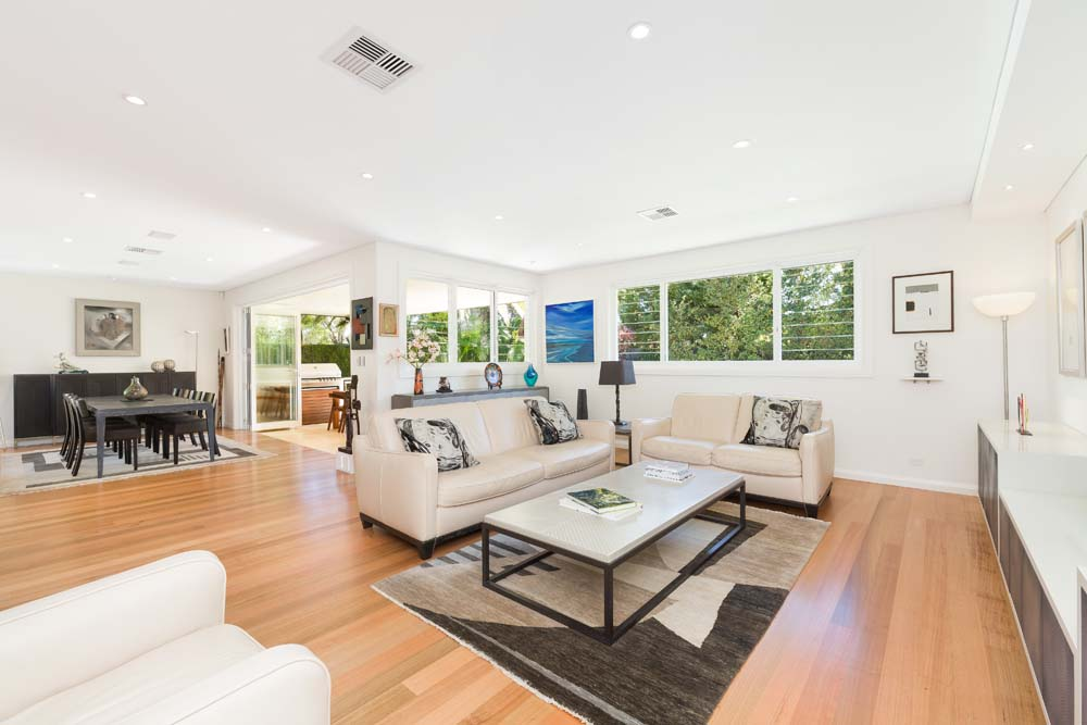 luxury building company Wilshire - Living Room Renovation with dining room view - Clockwork Constructions