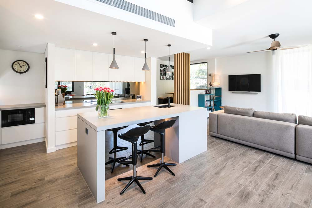 Woronora Home Renovation - Kitchen and living room view