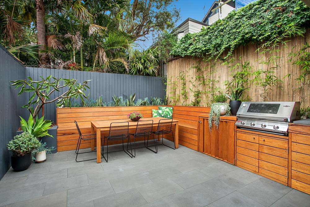 Balmain Home Renovation - Backyard with barbeque and recreational space - Clockwork Constructions