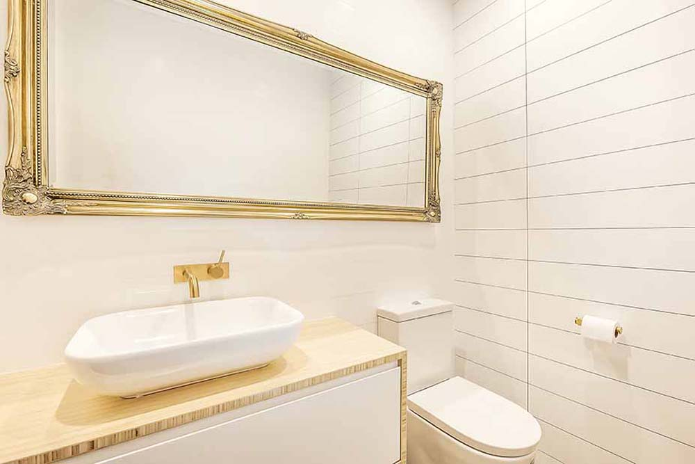 Big Picture Bathroom Renovation - Real estate bathroom renovation with modern fittings